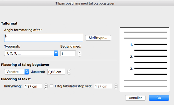Dialogboksen Tilpas opstilling med tal/bogstaver