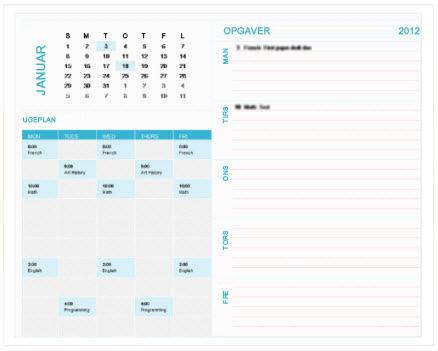 Skabelon for ugentlig planlægningskalender for studerende (Excel)