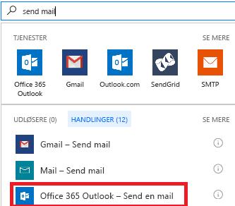 Skærmbillede: Vælg handlingen: Office 365 Outlook – Send en mail