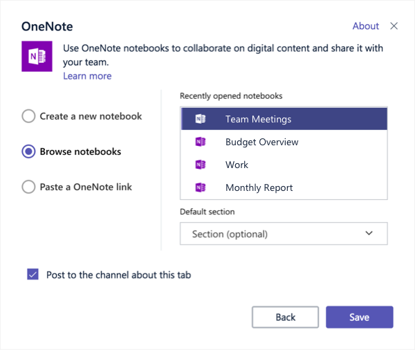Dialogboksen til OneNote under fanen konfiguration