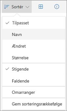 Skærmbillede af menuen Sortér i OneDrive