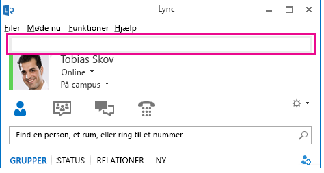 Skærmbillede af toppen af Lync-hovedvinduet med det personlige notefelt fremhævet
