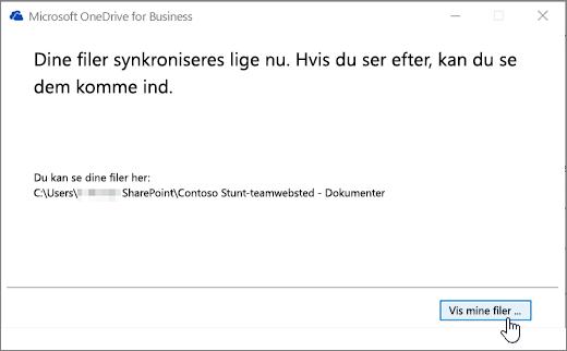 I OneDrive for Business-dialogboksen Vis mine filer-knappen fremhævet.