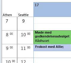 Flere tidszoner er vist i kalenderen