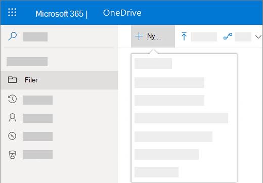 Skærmbillede af at vælge menuen Ny for at oprette et nyt dokument i OneDrive for Business