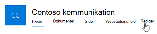 Øverste menu for kommunikationswebsted