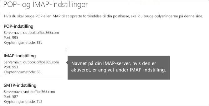 Viser linket til indstillinger for POP- eller IMAP-adgang