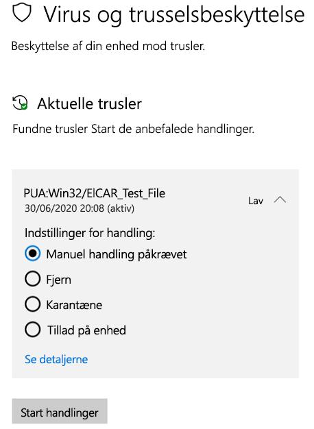 De handlinger, du kan bruge, når Windows Sikkerhed har registreret en potentielt uønsket app