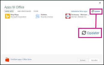 Opdateringsknappen til tilføjelsesprogrammer i Office