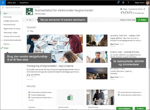 SharePoint Online teamwebstedets startside