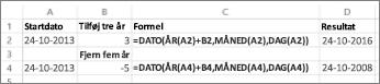 Eksempler på at tilføje og trække datoer fra
