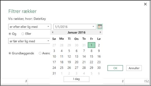Dialogboksen Excel Power BI-datovælgeren understøtter input af datoværdier i filterrækker og betingede kolonner