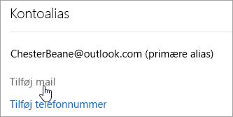 Et skærmbillede af knappen Vedhæft mail.