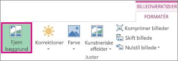 Knappen Fjern baggrund i gruppen Juster under fanen Formatér under Billedværktøjer