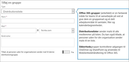 Tilføj en gruppeside – Vælg rullemenuen, og vælg distributionsliste.