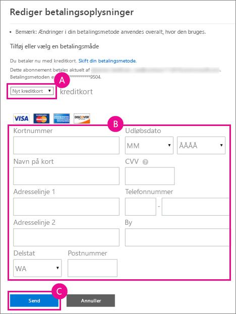 Sådan føjes et nyt kreditkort til Office 365 til virksomheder.