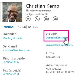 Linket Vis kilde på et Outlook-visitkort