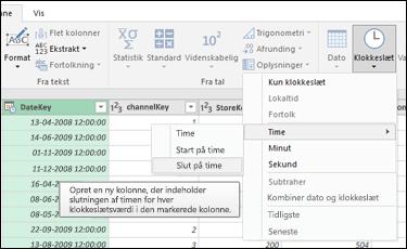 Power-forespørgsel – Træk timens start/slutning ud fra en dato- og klokkeslætskolonne eller en klokkeslætskolonne i Forespørgselseditor
