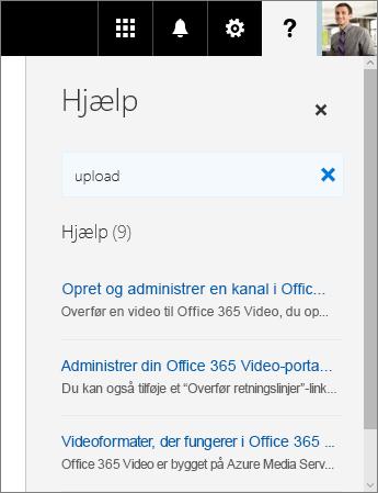Skærmbillede af ruden Hjælp i Office 365 Video der viser søgeresultater for Upload.