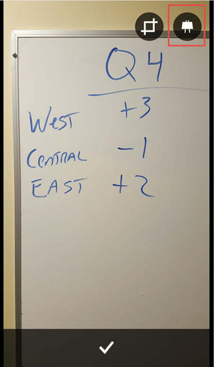 Foto af et whiteboard til et dokument eller en præsentation