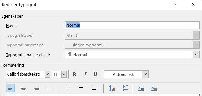 Formatering under Rediger typografi i Word