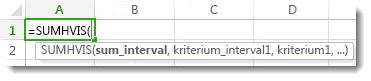 Bruge Autofuldførelse af formel til at angive funktionen SUM.HVISER