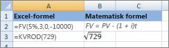 Excel-formler og lignende matematiske formler