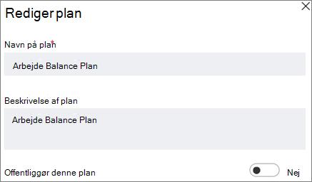 Skærmbillede af dialogboksen Rediger plan, der viser Kontrollér dette plan offentlige kontrolelement.