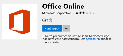 Siden Office Online filtypenavn i Microsoft Store