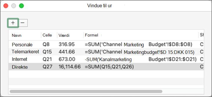 Værdikontrolvindue i Excel 2021 til Mac vises Navn, Celle, Værdi og Formel