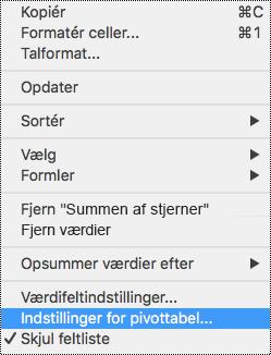 Indstillinger for pivottabel i genvejsmenuen i Excel til Mac.