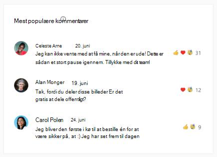 Skærmbillede, der viser de vigtigste kommentarer i samtaleindsigt Yammer