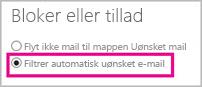Automatisk filtrering af uønsket mail