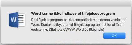"""Fejlmeddelelsen """"Word kan ikke indlæse et tilføjelsesprogram"""""""