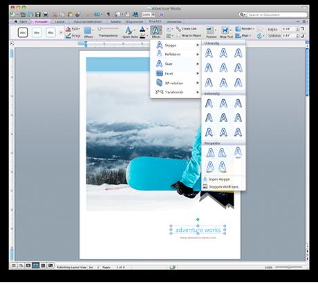 Word-brugergrænseflade der viser det nye bånd til Office til Mac