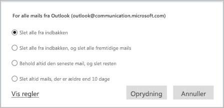 Brug Oprydning til at organisere dine mails