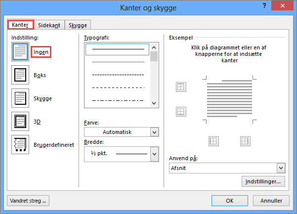 Dialogboksen Kanter og skygge i Outlook 2010