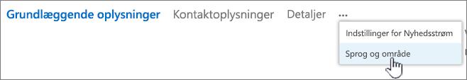 Klik på ellipsen, og klik derefter på sprog og område