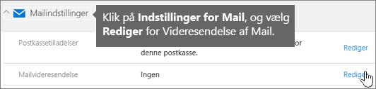 Vælg Mailindstillinger, og vælg derefter Rediger.