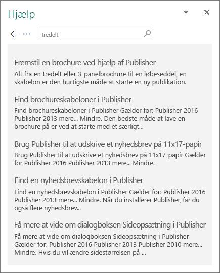 Skærmbillede af ruden hjælp i Publisher 2016 der viser resultaterne af en søgning efter tredelt.