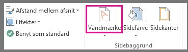 Kommandoen Vandmærke i Word 2013. Klik på Vandmærke på fanen Design.