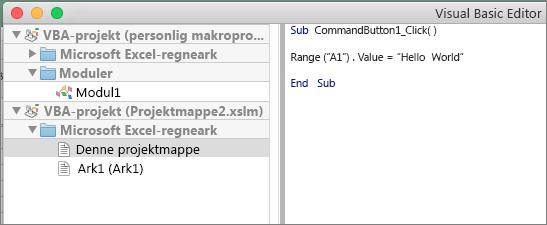 VB Editor i Excel til Mac