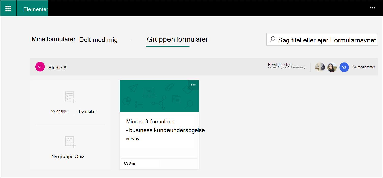 Gruppen formularer under Microsoft Forms