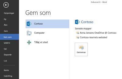 Skærmbillede for Gem, som viser OneDrive for Business- og SharePoint-websted tilføjet i Steder