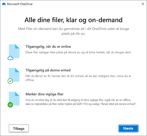 Skærmbilledet Filer efter behov i guiden Velkommen til OneDrive