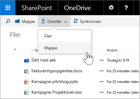 Skærmbillede af overførslen af en mappe i OneDrive for business i SharePoint Server 2016 med funktionspakke 1