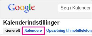 Google Calendar – klik på Kalendere