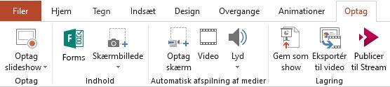 Viser fanen optagelse på båndet i PowerPoint