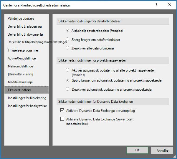 Indstillinger for eksternt indhold i Sikkerhedscenter Excel
