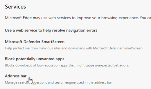 Screenshot of Address bar in Privacy and services settings